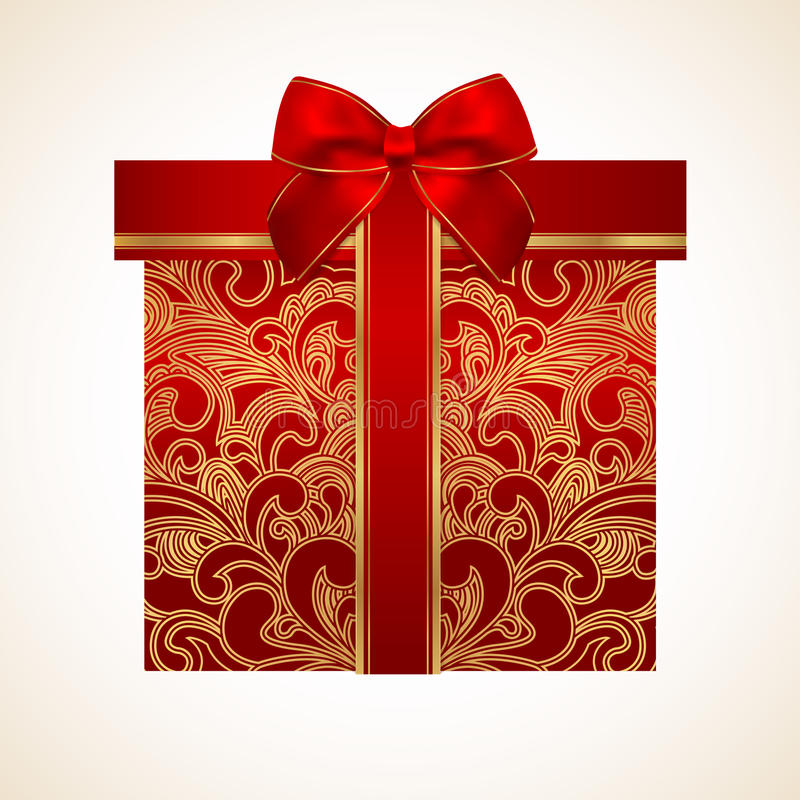 Red gift box with golden pattern, bow, ribbon stock illustration