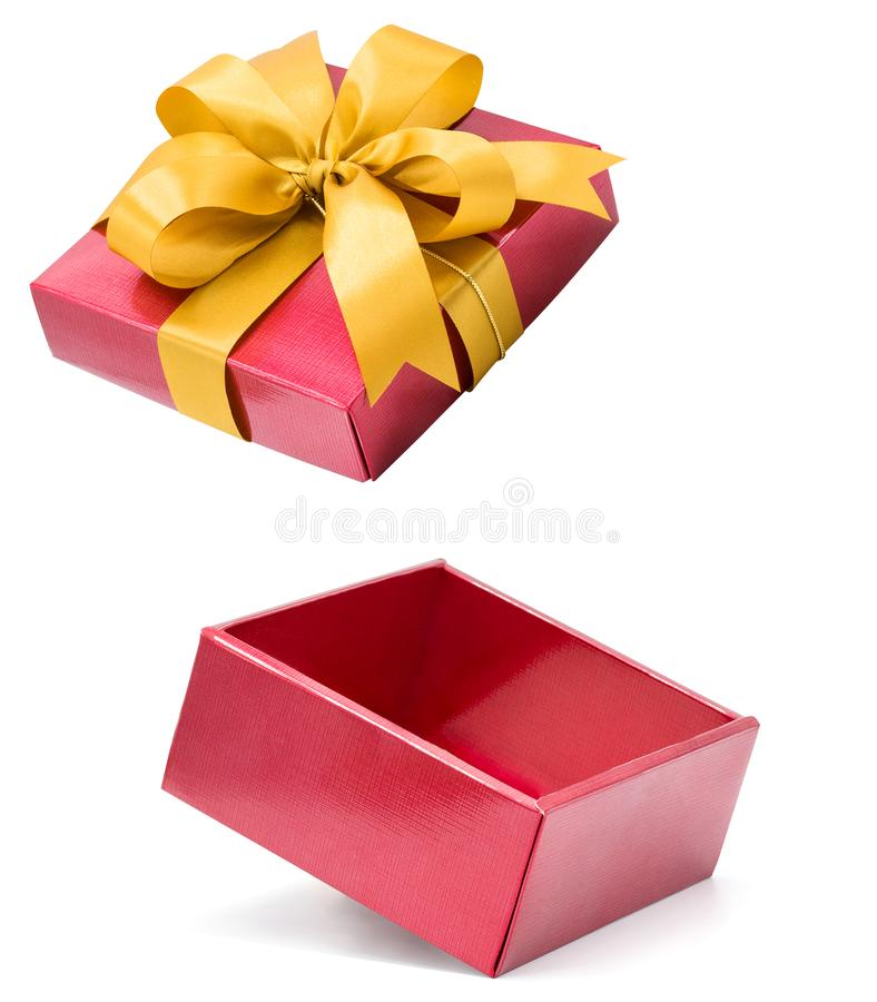 Red Gift Box isolated on white background with clipping path,Christmas Day,New Year day stock photo