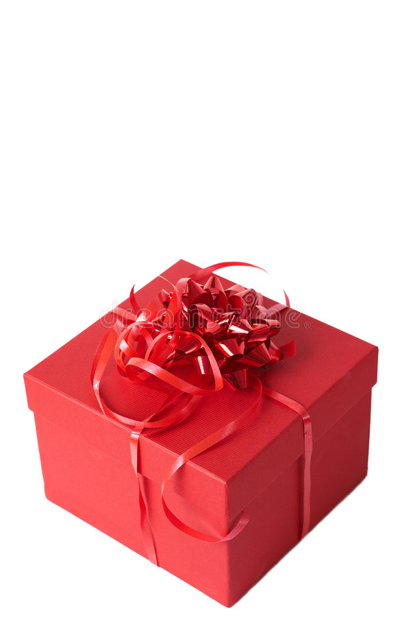 Red gift box with ribbon bows