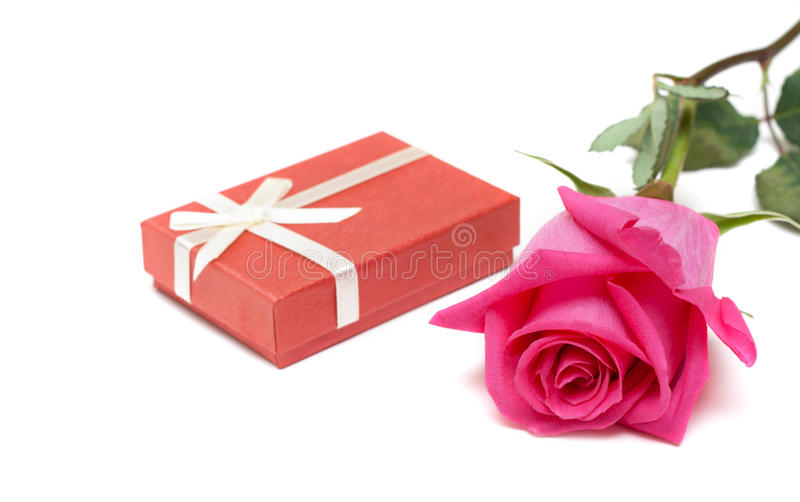 Red Gift Box And Rose Royalty Free Stock Photos