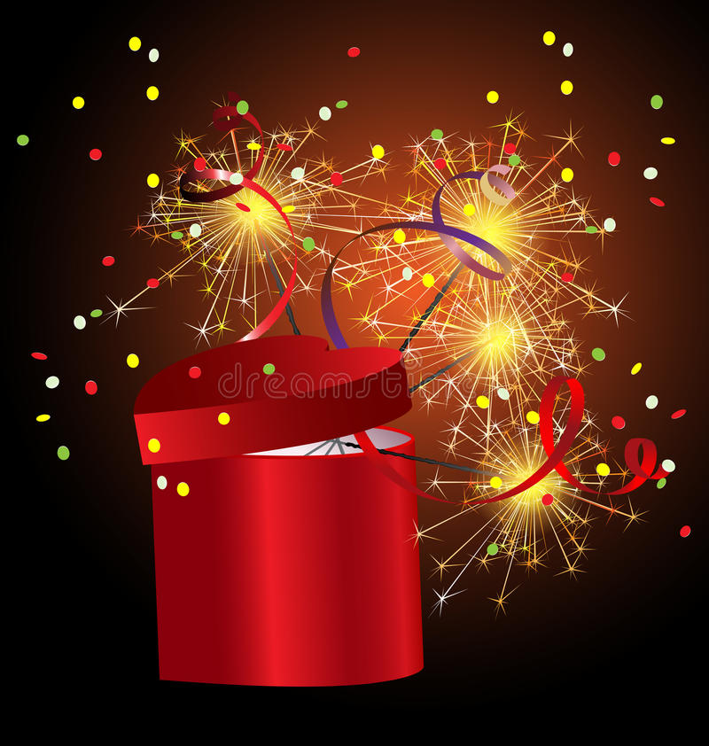 red gift box with sparkler vector illustration
