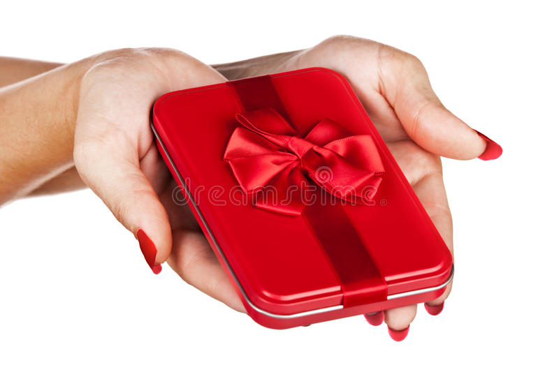 Download Red Gift Box In Woman's Hands Stock Image - Image: 24104249