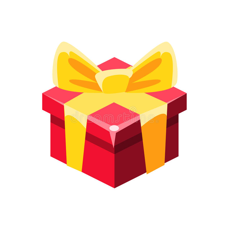 Red Gift Box With Yellow Bow With Present, Decorative Wrapped Cardboard Celebration Giftbox stock illustration