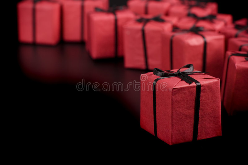 Red gift boxes stock images