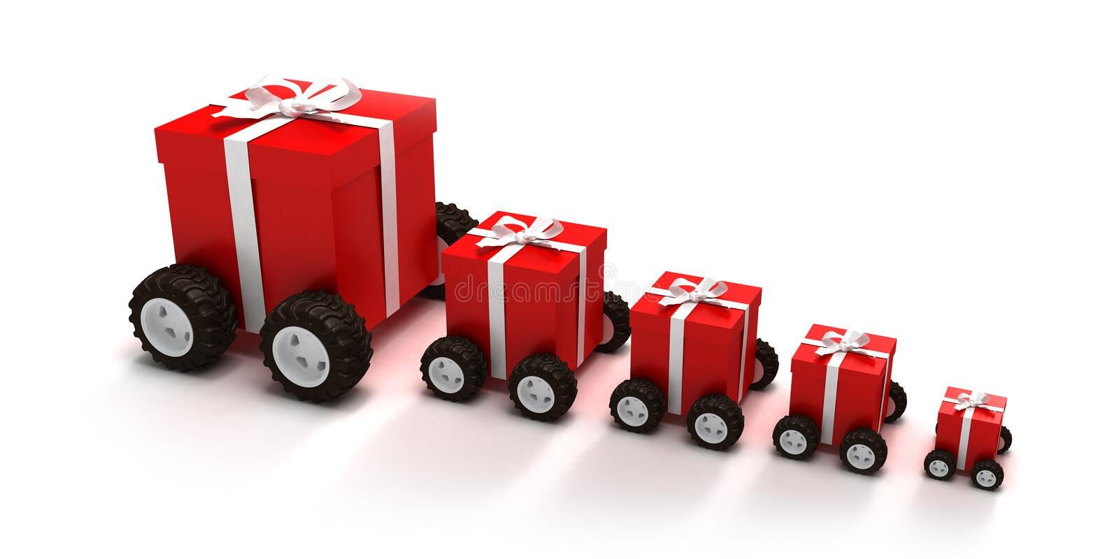 Red gift boxes convoy vector illustration