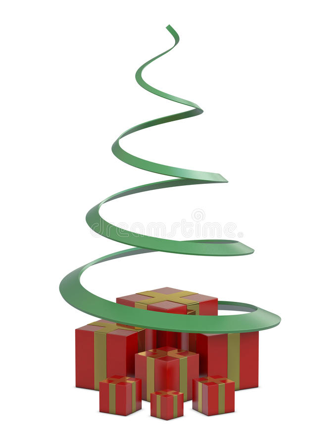 Download Red Gift Boxes And Green Christmas Tree Royalty Free Stock Images - Image: 16701779
