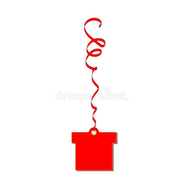 Red gift cardboard label weighs on serpentine tape. Suitable for holiday decorations and sale or discount price. Shops and discoun vector illustration