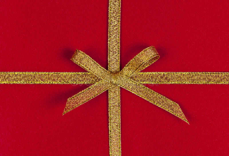 Download Red gift with gold ribbon stock image. Image of packages - 27996483