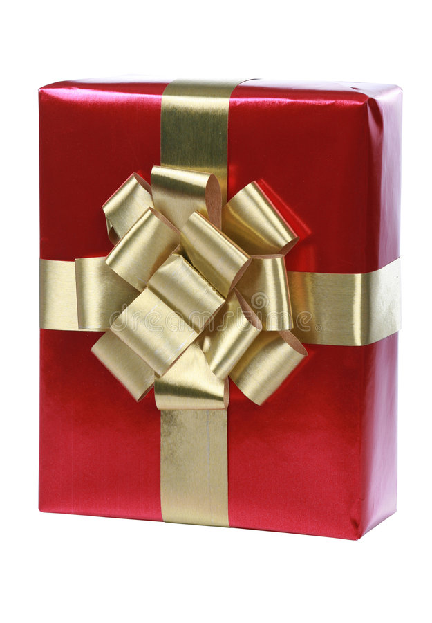 Download Red gift with gold ribbons stock photo. Image of wrapped - 7407290