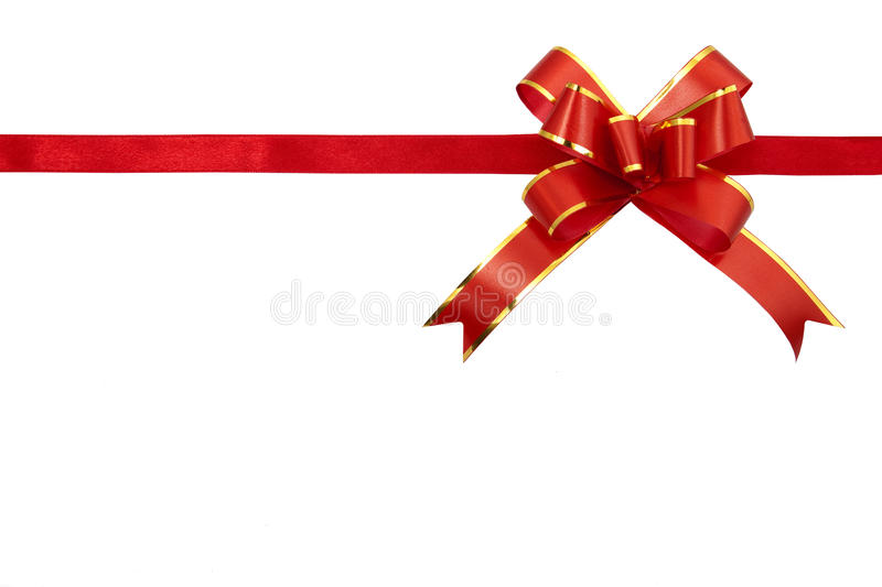Red gift ribbon. Isolated on white background stock photos