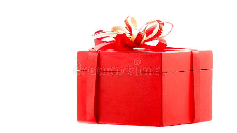 Red gift. With a red ribbon and a bow royalty free stock photos