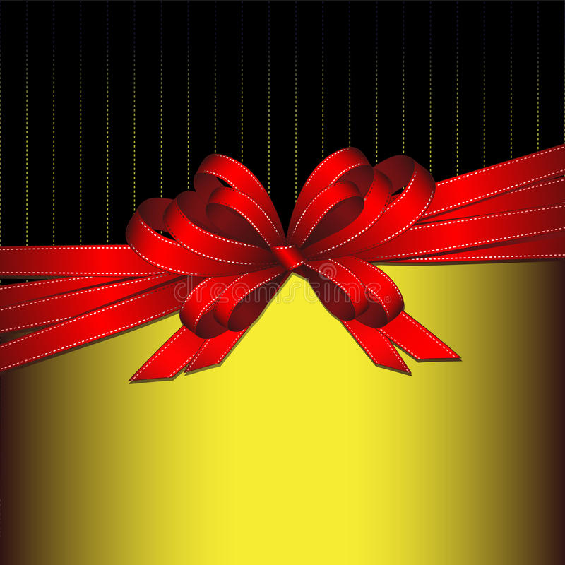 Red gift ribbon bow on gold and black background stock illustration