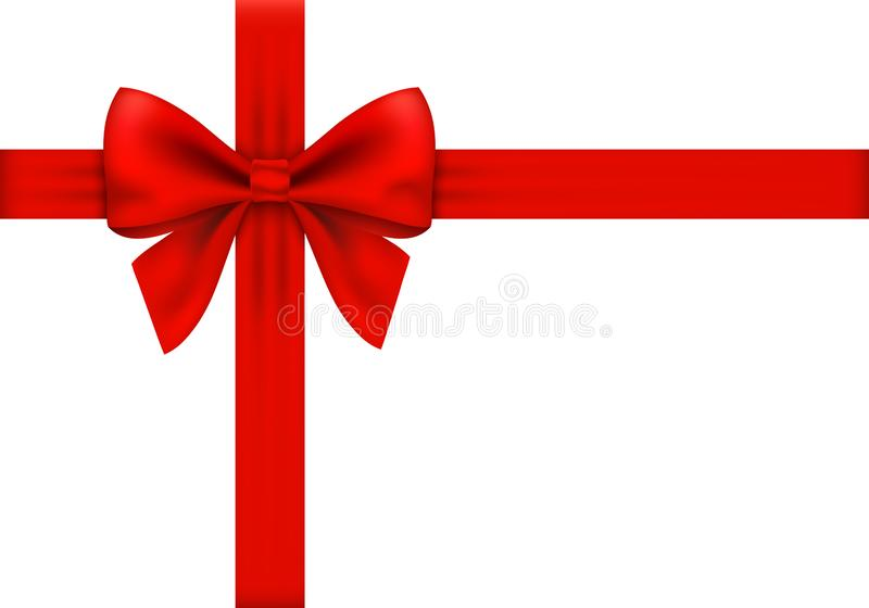 Ribbon 1. Red gift ribbon and bow on white background vector illustration