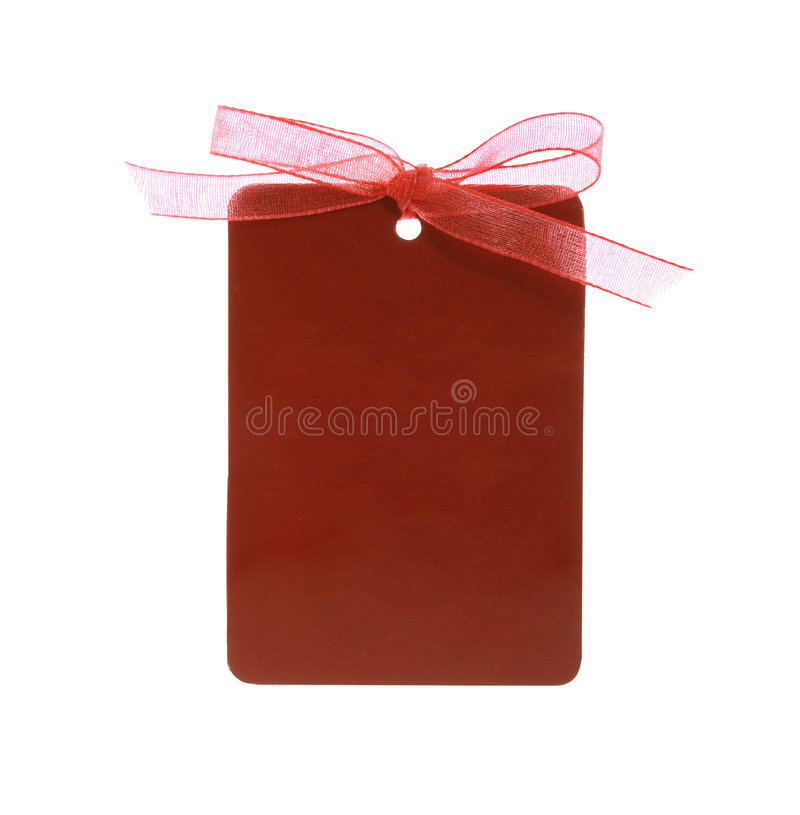 Red gift tag tied with ribbon (with clipping path) stock photography