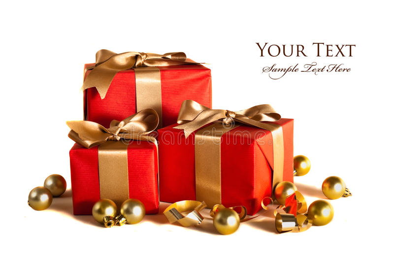 Red gifts stock photos