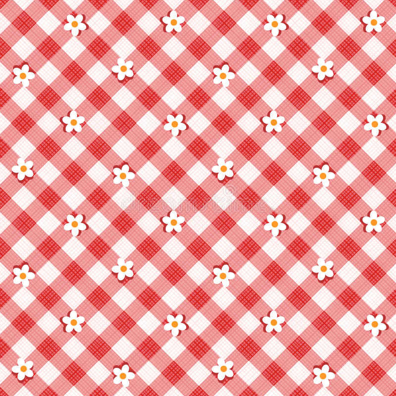 Download Red Gingham Fabric Cloth With Flowers, Seamless Pattern Included Stock Vector - Image: 29439102
