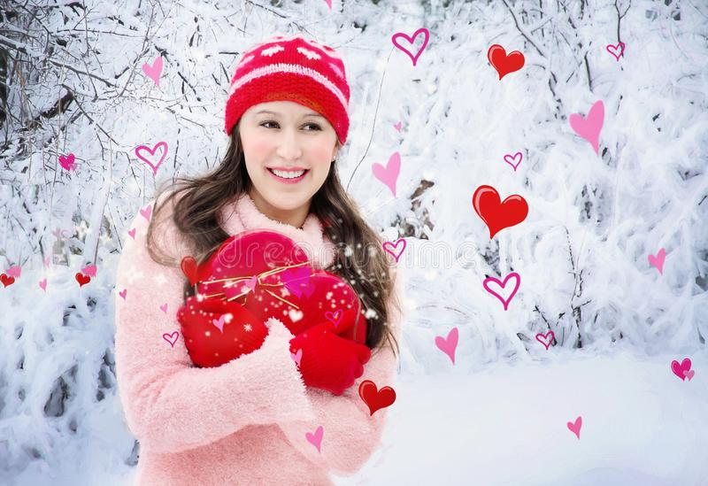 Red, Girl, Smile, Winter royalty free stock photo