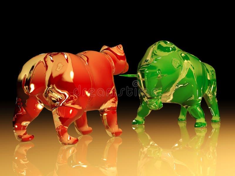 Red glass bear figure confronts green glass bull figure stock illustration