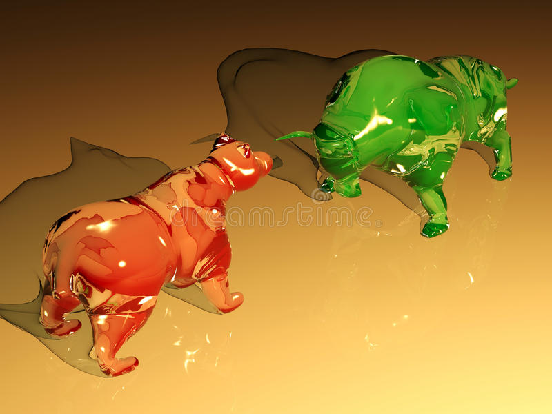 Red glass bear figure confronts green glass bull figure vector illustration