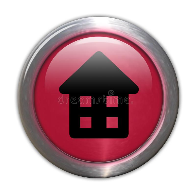 Red Glass Button - Home royalty free stock photography