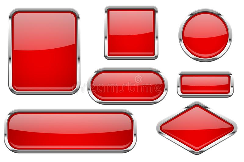 Red glass buttons with chrome frame. Colored set of shiny 3d web icons. Vector illustration isolated on white background royalty free illustration