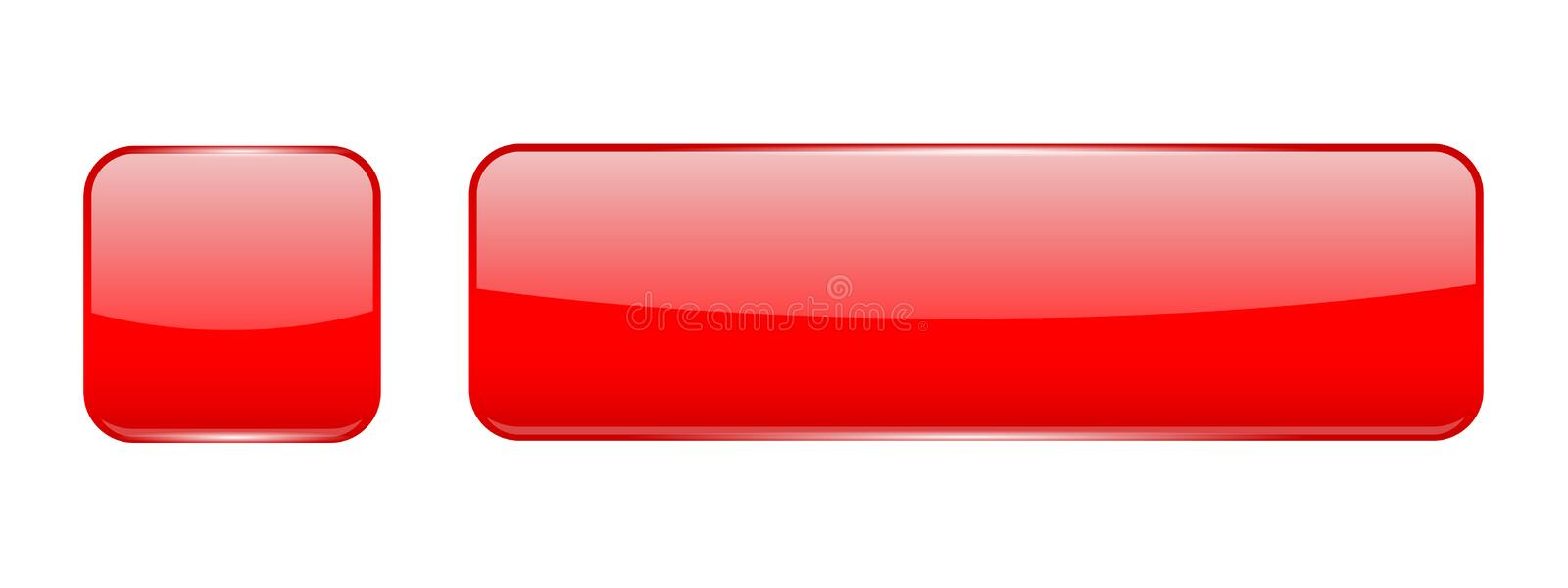 Red glass buttons. Web 3d shiny icons. Vector illustration isolated on white background royalty free illustration