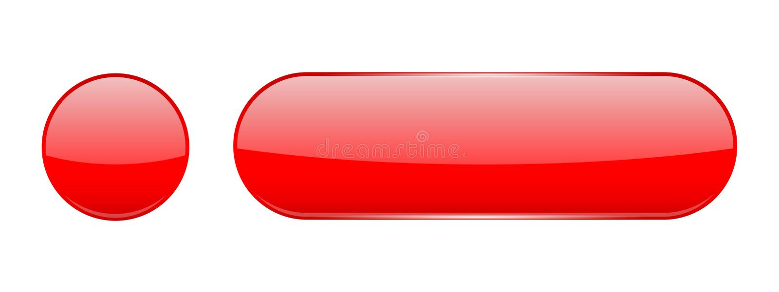Red glass buttons. Web 3d shiny icons. Vector illustration isolated on white background stock illustration
