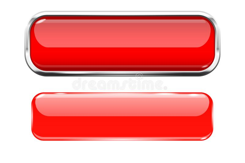 Red glass buttons. Web 3d shiny rectangle icons. Vector illustration isolated on white background royalty free illustration