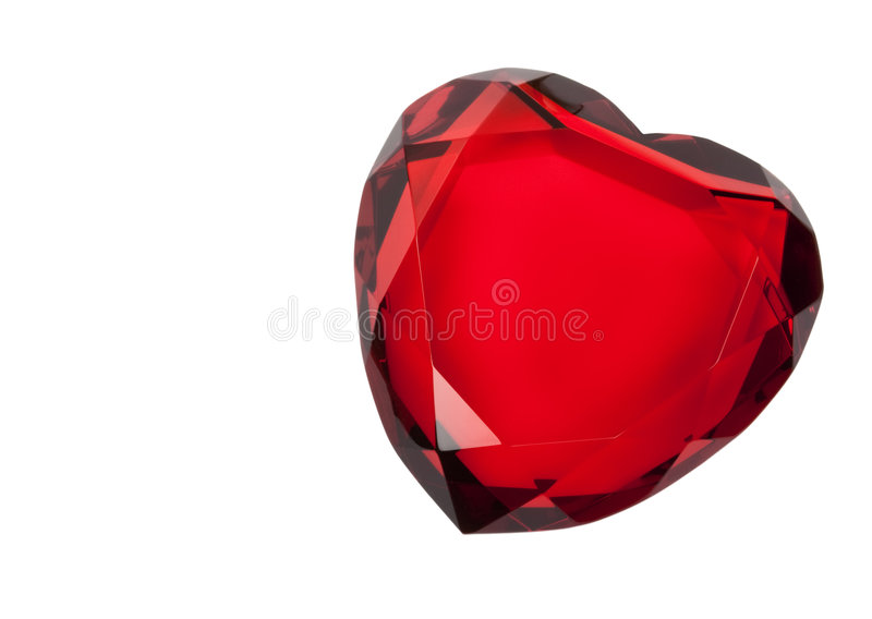 Red Glass Heart Isolated on White