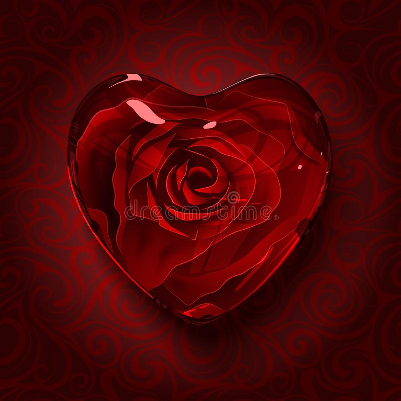 Red glass heart with rose inside stock illustration