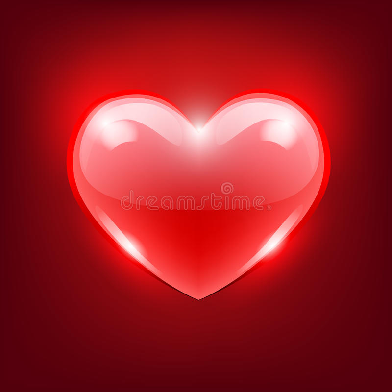 Red glass heart, vector royalty free stock image
