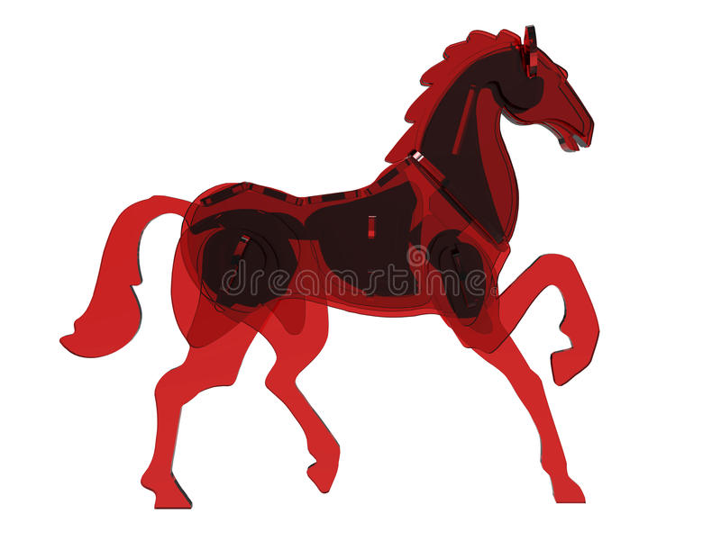 Red glass horse illustration royalty free illustration