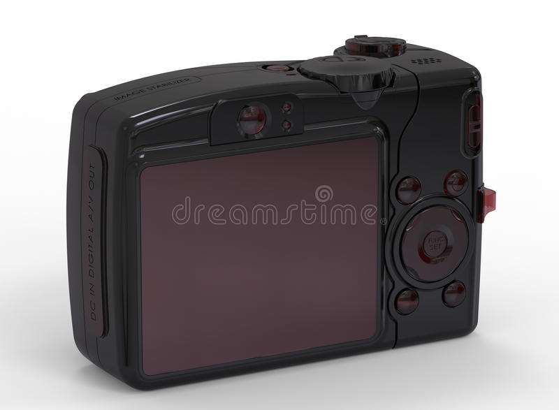 Red glass mirror less camera. 3D rendered illustration of a mirror less camera. The object is on a white background with shadows vector illustration