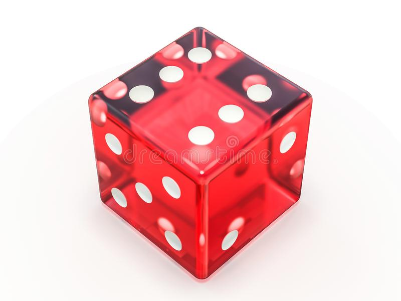 Red glass playing dice isolated on white background. 3D royalty free illustration
