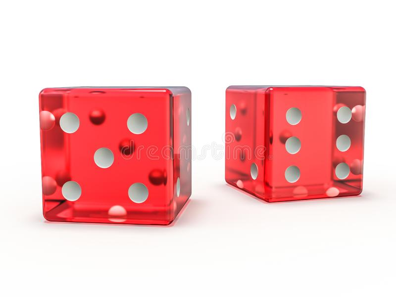 Red glass playing dice isolated on white background. 3D vector illustration