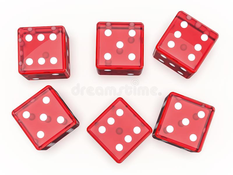 Red glass playing dice isolated on white background. 3D stock illustration