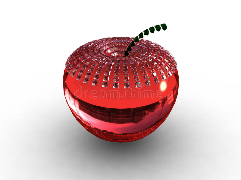 Red glass/ruby apple background. 3D vector illustration