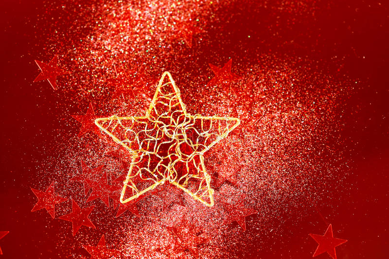 Red glitter decoration with big golden star stock photos