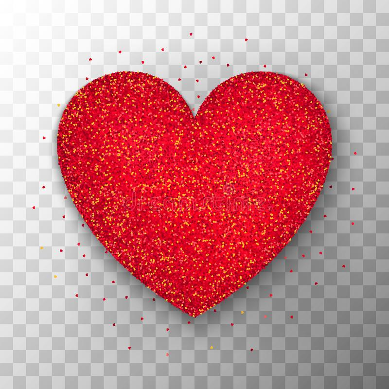 Red Glitter Heart Transparent Background stock illustration