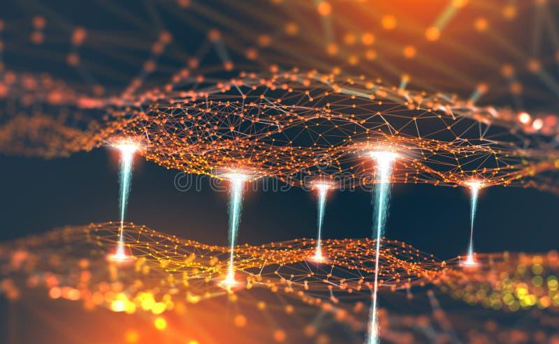 Red global Blockchain Ejemplo de la malla 3D del polígono Redes neuronales e inteligencia artificial libre illustration