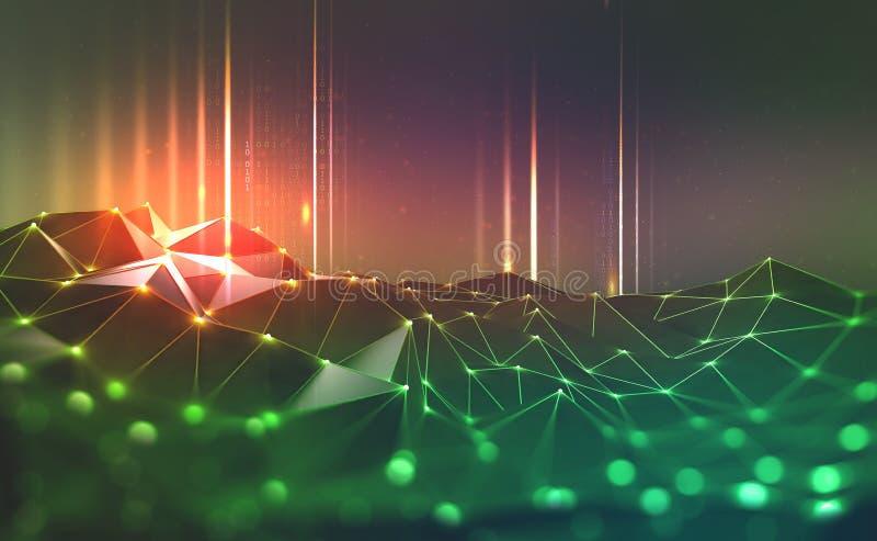 Red global Blockchain Redes neuronales e inteligencia artificial ilustración del vector