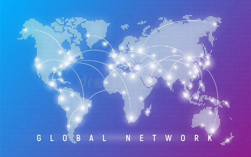 Red global, comunicación mundial y conexiones, interna ilustración del vector