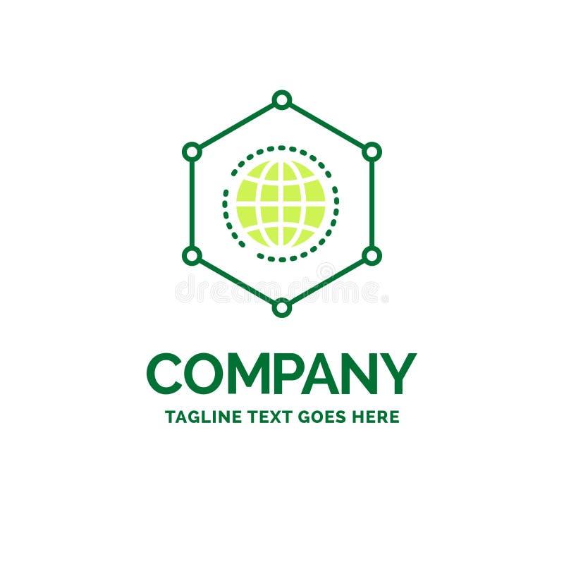 Red, global, datos, conexión, logotipo plano t del negocio del negocio ilustración del vector