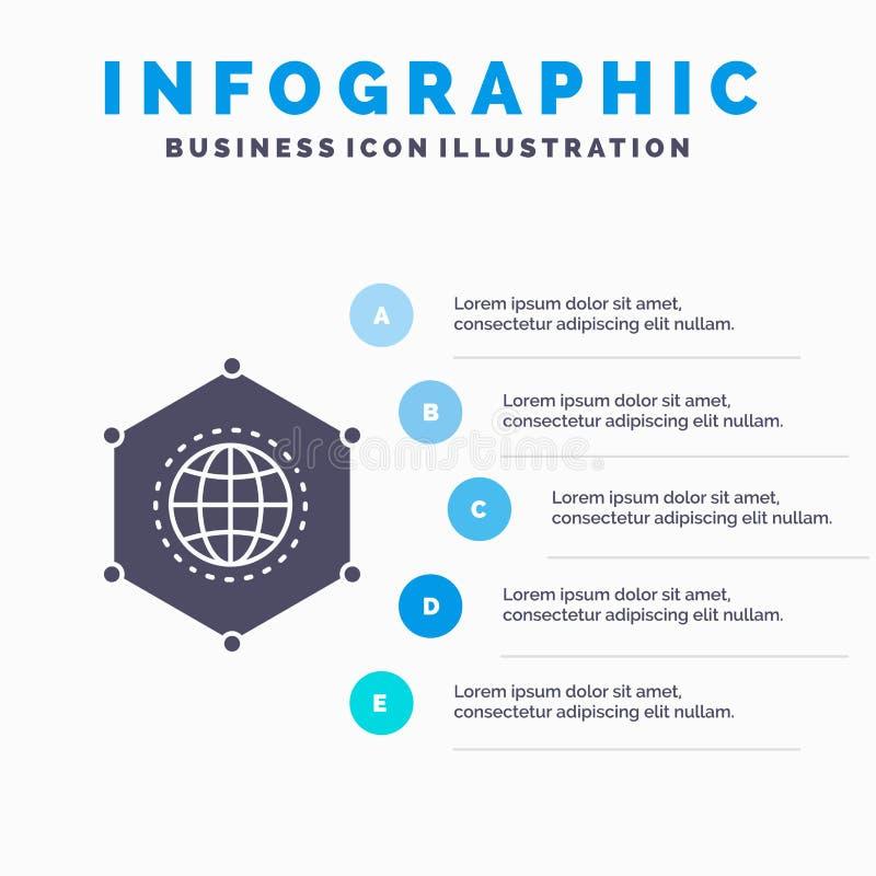 Red, global, datos, conexión, plantilla de Infographics del negocio para la página web y presentación Icono gris del GLyph con el ilustración del vector