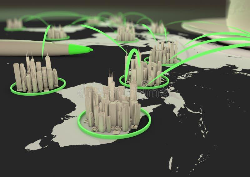 Red global de la ciudad ilustración del vector