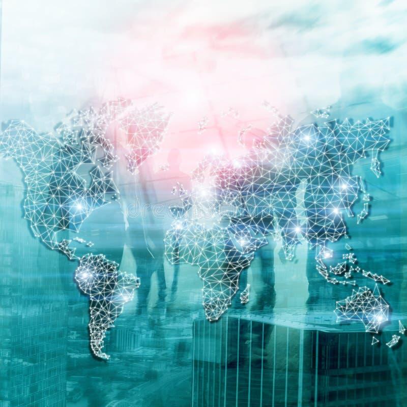 Red global de la exposición doble del mapa del mundo Telecomunicación, Internet internacional del negocio y concepto de la tecnol libre illustration