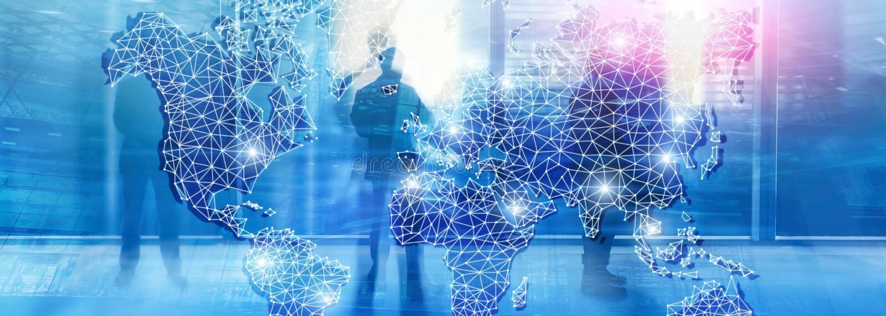 Red global de la exposición doble del mapa del mundo Telecomunicación, Internet internacional del negocio y concepto de la tecnol ilustración del vector