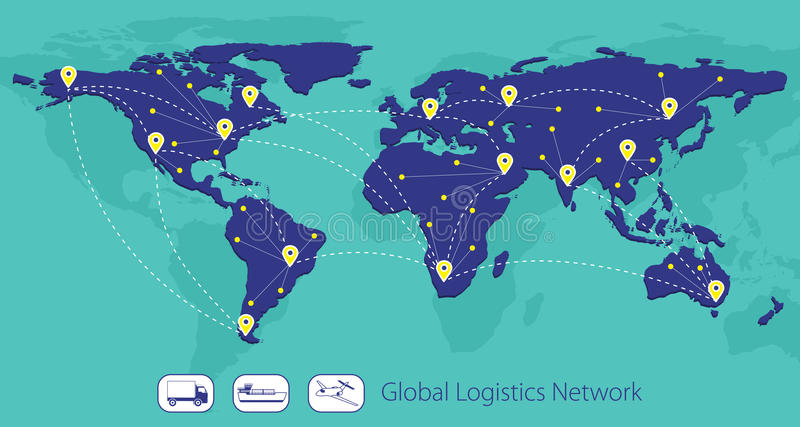 Red global de la logística, mapa del mundo stock de ilustración