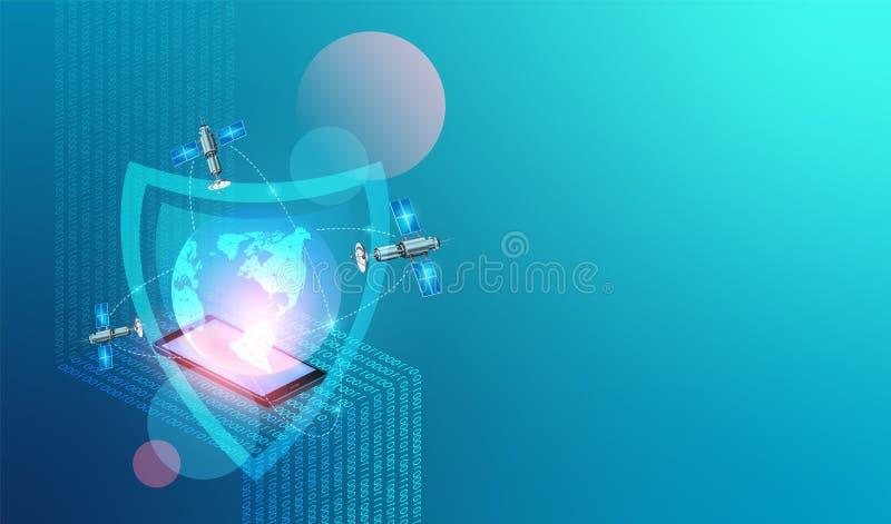 Red global de la protección de datos, Internet Fondo de la tecnolog?a de seguridad de la red del vector Datos digitales móviles c stock de ilustración