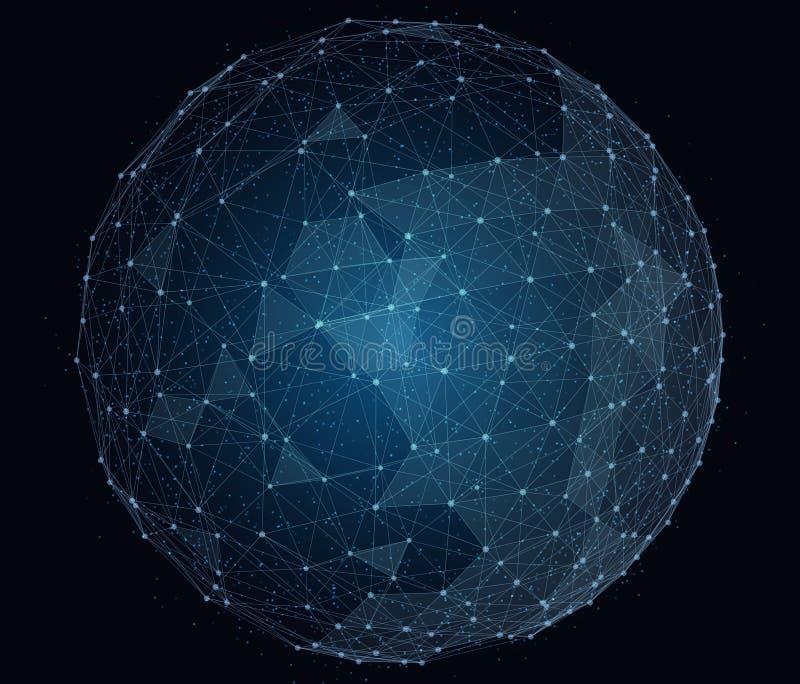Red global digital abstracta Alambre-marco ilustración del vector